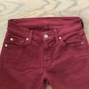 7 FOR ALL MANKIND Maroon/Burgundy Denim Jeans